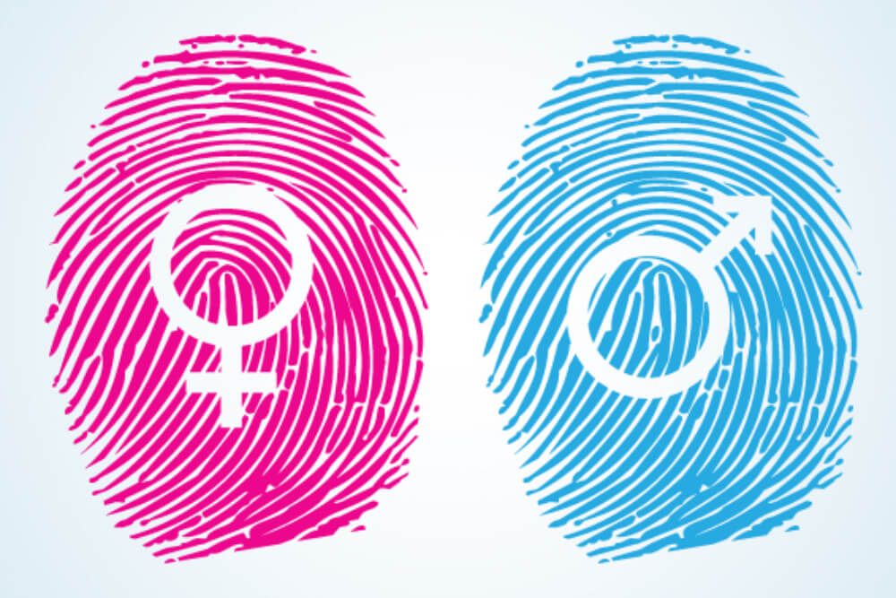 hormone therapy concept with gender fingerprints